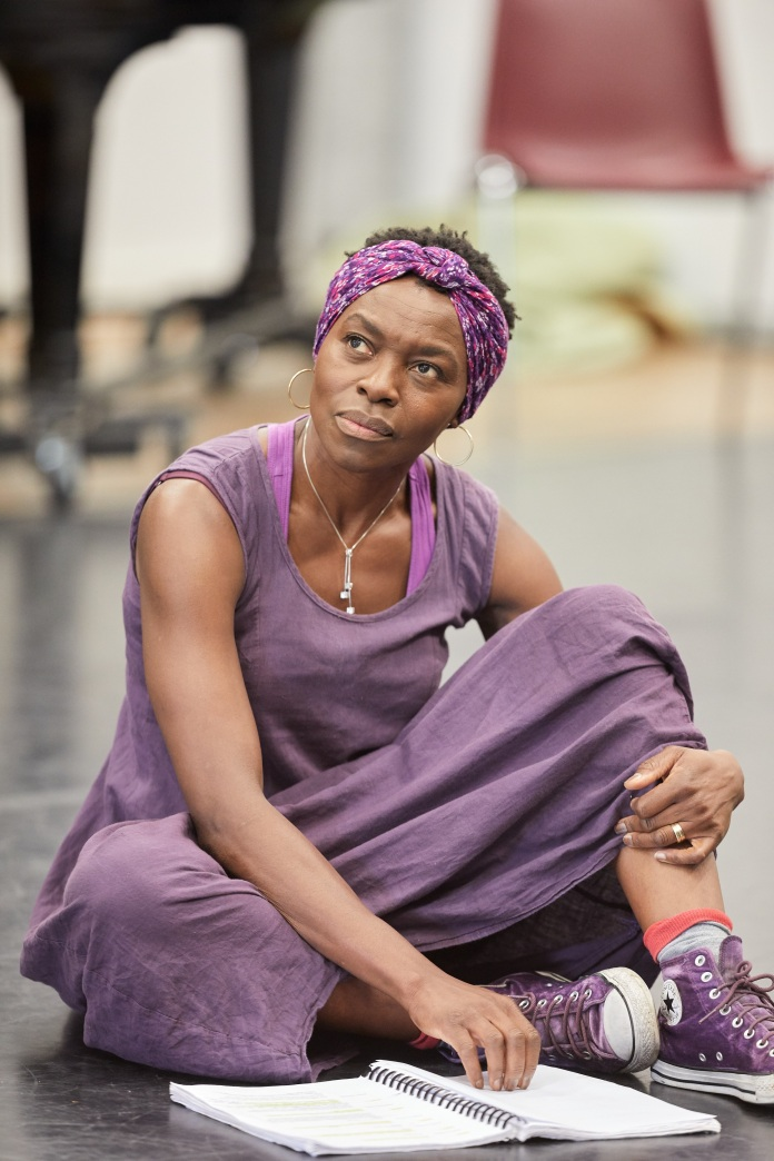 Rakie Ayola in rehearsals for On Bear Ridge at NTW and Royal Court Theatre Ed Thomas WRITER/CO-DIRECTOR Vicky Featherstone CO-DIRECTOR Cai Dyfan DESIGNER Elliot Griggs LIGHTING DESIGNER Mike Beer SOUND DESIGNER John Hardy COMPOSER