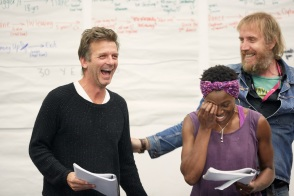 Jason Hughes, Rhys Ifans and Rakie Ayola in rehearsals for On Bear Ridge at NTW and Royal Court Theatre Ed Thomas WRITER/CO-DIRECTOR Vicky Featherstone CO-DIRECTOR Cai Dyfan DESIGNER Elliot Griggs LIGHTING DESIGNER Mike Beer SOUND DESIGNER John Hardy COMPOSER
