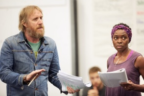 Rhys Ifans and Rakie Ayola in rehearsals for On Bear Ridge at NTW and Royal Court Theatre Ed Thomas WRITER/CO-DIRECTOR Vicky Featherstone CO-DIRECTOR Cai Dyfan DESIGNER Elliot Griggs LIGHTING DESIGNER Mike Beer SOUND DESIGNER John Hardy COMPOSER