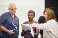 Ed Thomas, Rakie Ayola and Vicky Featherstone in rehearsals for On Bear Ridge at NTW and Royal Court Theatre Ed Thomas WRITER/CO-DIRECTOR Vicky Featherstone CO-DIRECTOR Cai Dyfan DESIGNER Elliot Griggs LIGHTING DESIGNER Mike Beer SOUND DESIGNER John Hardy COMPOSER